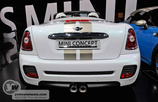 Mini Roadster Concept rear showing central twin pipes