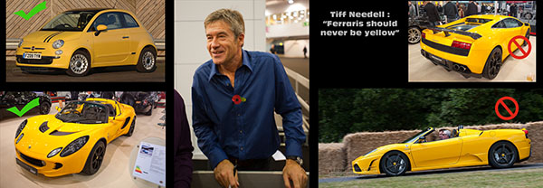 Tiff Needell and yellow cars...